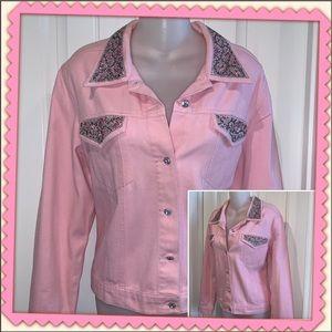 Pink rhinestone jean jacket